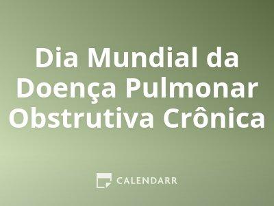 Dia Mundial da Doença Pulmonar Obstrutiva