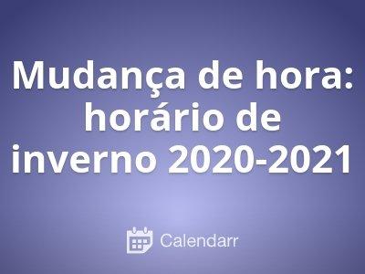 Mudança de hora: horário de inverno 2019-2020