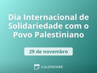 Dia Internacional de Solidariedade com o Povo Palestiniano