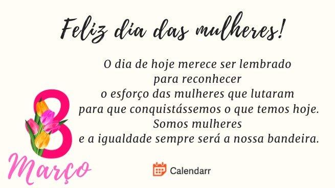 Mensagem dia das mulheres