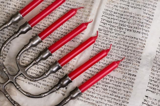 A Hanukkah menorah or hanukkiah.