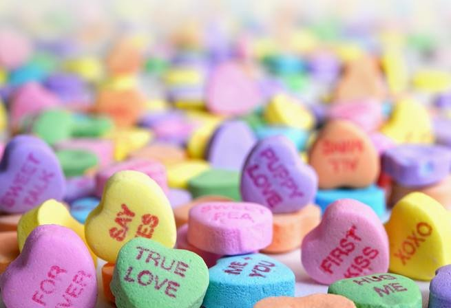 Sweets with love messages written on them
