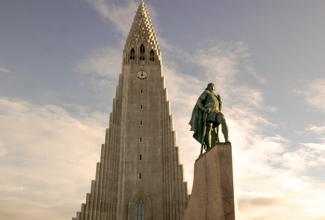 A statue of Leif Erikson outside the Hallgrímskirkja church in Reykjavík, Iceland.