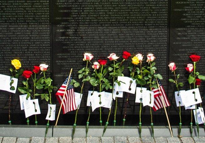 Flowers laid at the Vietnam Veterans Memorial in Washington D.C.