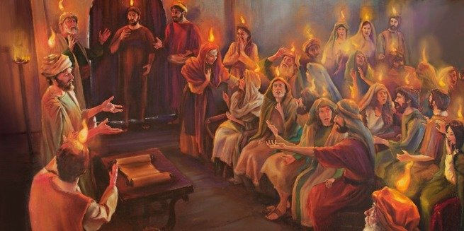 Pentecostes: Descida do Espírito Santo em forma de línguas de fogo