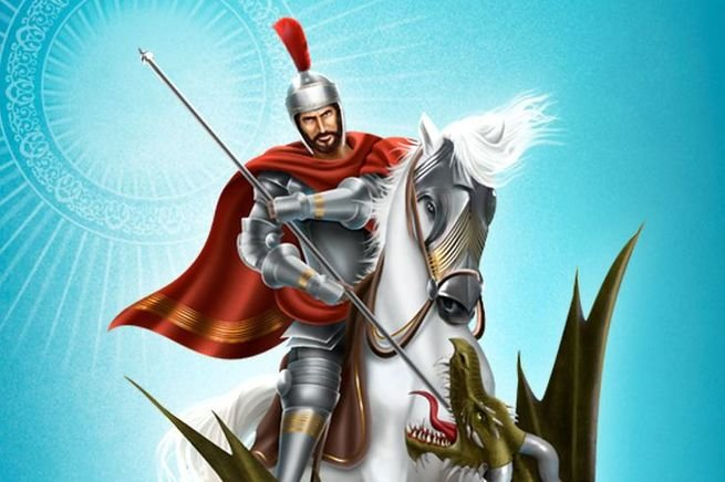 São Jorge montado no seu cavalo atacando dragão
