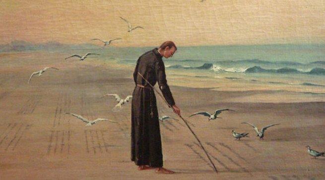 José de Anchieta escrevendo poema à Virgem Maria, pintura de Benedito Calixto