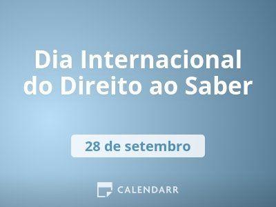 Dia Internacional do Direito ao Saber